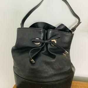 Kate Spade New Black Leather Bucket Bag